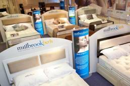 millbrook beds display - lightboxes showroom display