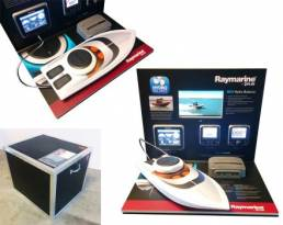 hi tech counter top display units for Raymarine with working models and media players