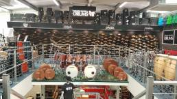 cymbal display wall for Graham Russell Drums