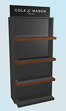 Premium quality free standing display unit - FSDU for Cole and Mason - point of purchase, point of sale