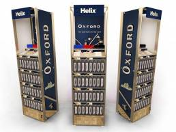 FSDU free standing display point of purchase display for Helix Oxford products