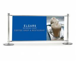 Cafe banners for exterior signage, barriers, segregation, advertising