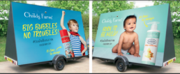 giant trailer signs to advertise childs farm