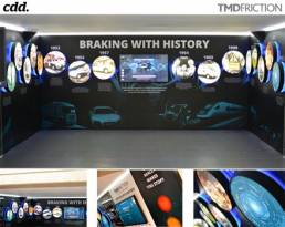 interactive large scale displays with wall graphics and media player screens