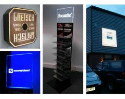 Lightboxes for retail displays and showrooms, interior and exterior signage