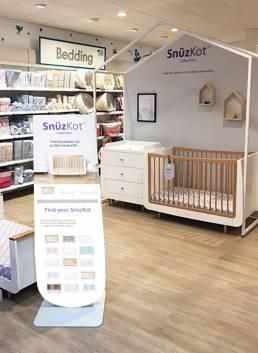 snuzcot FSDU freestanding display unit in Mothercare