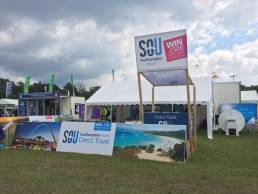 Outdoor trade stand exhibition stand for Southampton Airport