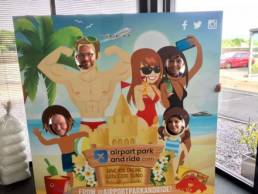 airport park and ride photo opp board