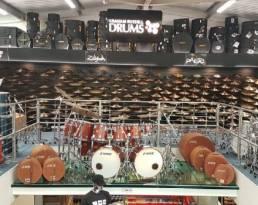 custom designed displays drums - cymbal wall display