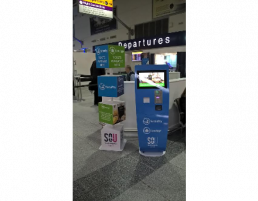interactive display stands for airport check in