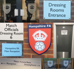 range of signs for Hampshire FA - wayfinding, signage, corporate signs
