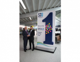 giant advertising stand with custom bespoke design - southampton airport